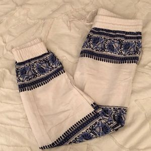 Patterned linen joggers